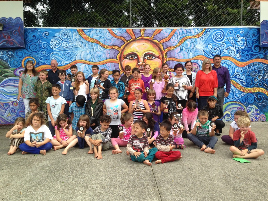 Proudly showing off our new mural!